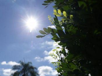 Sol brilha forte no começo da tarde desta segunda-feira em Campo Grande, que marca 22.8ºC. (Foto: Kísie Ainoã).