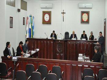 Os vereadores de Laguna Carapã na sessão desta terça-feira (12). Foto: Assessoria