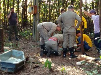 Bombeiros resgatam corpo em poço na zona rural - Foto: Fábio Oruê/Correio do Estado