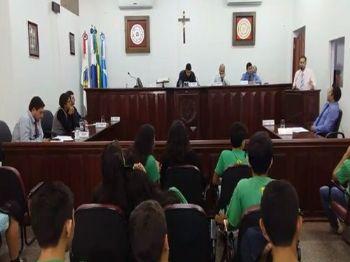 Os vereadores de Laguna Carapã na sessão desta terça-feira (15). Foto: Assessoria