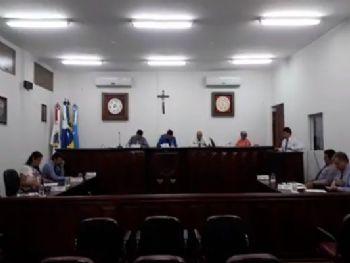 Os vereadores de Laguna Carapã na sessão desta terça-feira (06). Foto: Assessoria