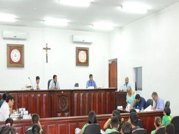 Os vereadores de Laguna Carapã na sessão desta terça-feira (13). Foto: Assessoria