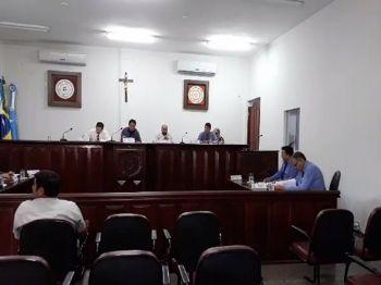 Os vereadores de Laguna Carapã na sessão desta terça-feira (20). Foto: Assessoria