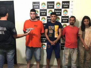 Quadrilha presa em flagrante após praticarem o roubo de um caminhão em Fátima do Sul(Foto: Divulgação / PC)