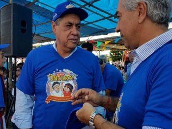 Puccinelli e Reinaldo conversam durante Undokai neste domingo.