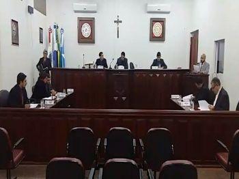 Os vereadores de Laguna Carapã na sessão desta terça-feira (05). Foto: Assessoria