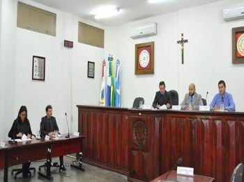 Os vereadores de Laguna Carapã na sessão desta terça-feira (22). Foto: Assessoria