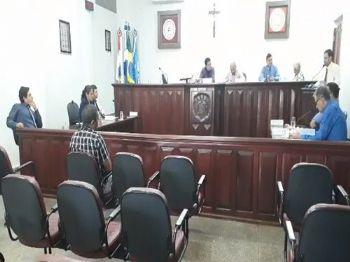 Os vereadores de Laguna Carapã na sessão desta terça-feira (10). Foto: Assessoria