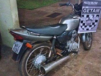 motocileta recuperada na sexta-feira(22) por duma das equipes do GETAM. Foto: Divulgação