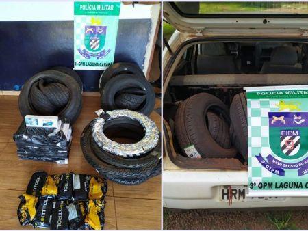 Material apreendido pela Polícia Militar de Laguna Carapã/MS.